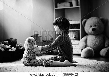 Cute Little Child, Preschool Boy, Playing With Teddy Bear At Home, Having Fun