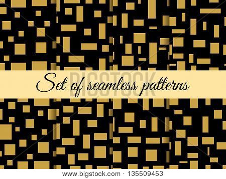 Seamless Pattern With Squares And Rectangles. Pattern With Squares And Rectangles. Gold And Black. T