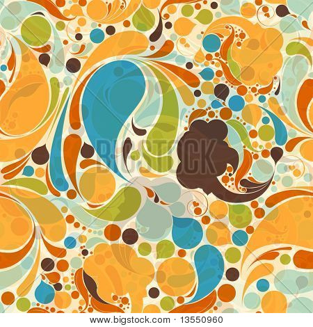 wave seamless pattern in retro style