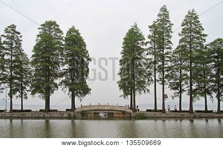 park on East lake in Wuhan, China
