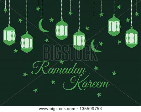 Ramadan Kareem lantern and moon muslim holiday lights on a light background. Vector.