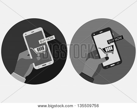 Hand Holding Phone. Online Shopping, Buy Now Online. Business By Smartphone. E-commerce Vector.