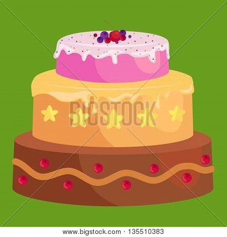 Vector cake icon set, Birthday sweet dessert with cream, isolated illustration.