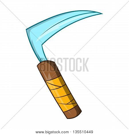 Kusarigama ninja weapon icon in cartoon style isolated on white background