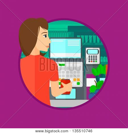 Young female cashier standing at the checkout at the supermarket. Female cashier working at checkout at the supermarket. Vector flat design illustration in the circle isolated on background.