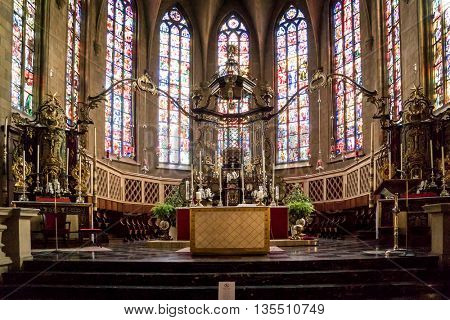 LUXEMBOURG, LUXEMBOURG - JUNE19, 2016:  The Interior of the Cathedral in Luxembourg City