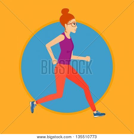 Young woman running. Female runner jogging. Full length of a female athlete running. Sports woman in sportswear running. Vector flat design illustration in the circle isolated on background.