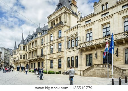 LUXEMBOURG, LUXEMBOURG - JUNE19, 2016:  Grand Ducal Palace in Luxembourg City