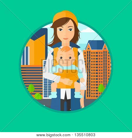 Mother carrying son in sling. Mother with baby in sling walking in the city street. Young mother carrying a newborn in sling. Vector flat design illustration in the circle isolated on background.