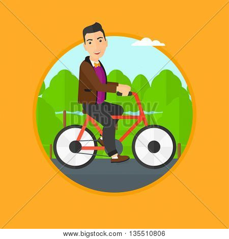 Sportive man riding a bicycle in the park. Cyclist riding bike on forest road. Man on a bike outdoors. Healthy lifestyle concept. Vector flat design illustration in the circle isolated on background.