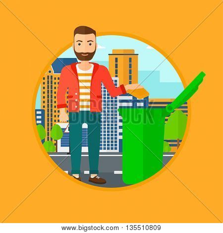 Man throwing away a garbage in a green trash in the city. Man with the beard throwing away trash. Eco-friendly man throwing trash. Vector flat design illustration in the circle isolated on background.