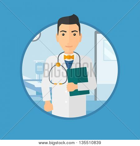Friendly doctor with stethoscope and a file in medical office. Male doctor carrying folder of patient or medical information. Vector flat design illustration in the circle isolated on background.