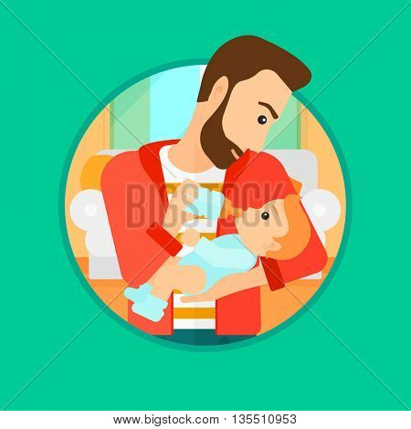 Hipster father feeding baby with a milk bottle. Father feeding newborn baby at home. Baby boy drinking milk from bottle. Vector flat design illustration in the circle isolated on background.