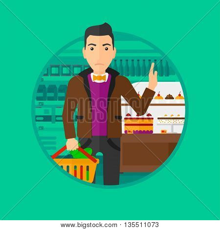 Man holding basket full of healthy food and refusing junk food. Man rejecting junk food in supermarket. Man choosing healthy food. Vector flat design illustration in the circle isolated on background.