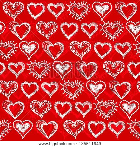 Seamless pattern with hearts like snowflakes. Valentine's Day. Winter.