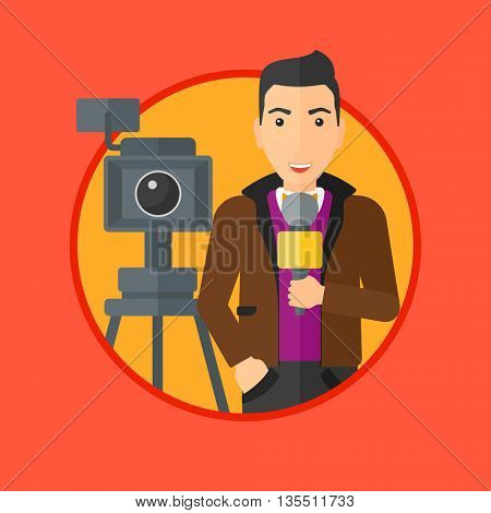 Reporter with microphone standing on a background with camera. TV reporter presenting the news. TV transmission with a reporter. Vector flat design illustration in the circle isolated on background.