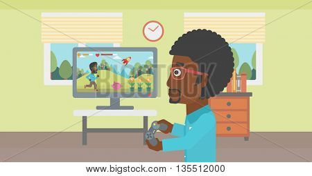 An african-american woman sitting on the couch in living room and watching tv vector flat design illustration. Horizontal layout.