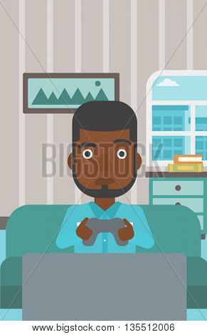 A tired african-american man sitting on a sofa with gamepad in hands on the background of living room vector flat design illustration. Vertical layout.