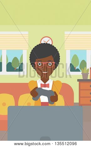 An enthusiastic african-american woman sitting on a sofa with gamepad in hands in living room vector flat design illustration. Vertical layout.