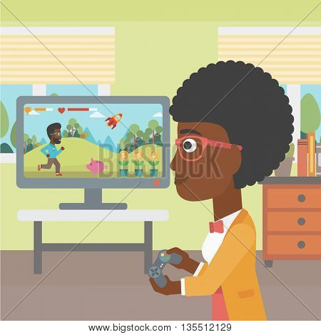 An african-american woman playing video game with gamepad in hands in living room vector flat design illustration. Square layout.