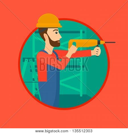 A hipster worker with the beard drilling a hole in the wall. A man in overalls and hard hat working with hammer drill. Vector flat design illustration in the circle isolated on background.