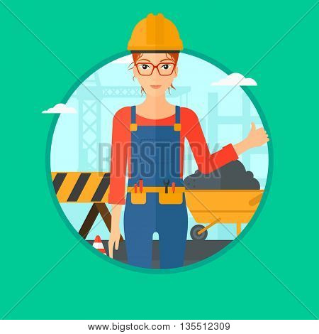 A female builder in helmet giving thumb up. A builder with thumb up on a construction site. A woman giving thumb up on a background of road works. Vector flat design illustration in the circle.