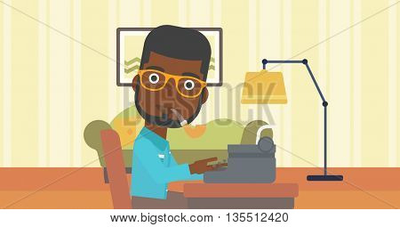 An african-american reporter writing an article on typewriter and smoking pipe on the background of living room vector flat design illustration. Horizontal layout.