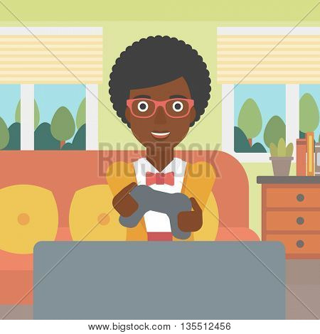 An enthusiastic african-american woman sitting on a sofa with gamepad in hands in living room vector flat design illustration. Square layout.