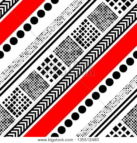 Seamless Diagonal Stripe, Square, Circle, Arrow and Dots Pattern. Vector Black and Red Patchwork Background.