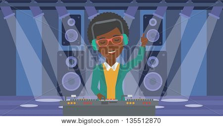 An african-american DJ in eadphones with hand up playing music on turntable on the background of night club vector flat design illustration. Horizontal layout.