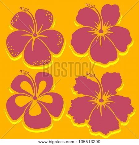 Hibiscus Collection in red color. Vector illustration