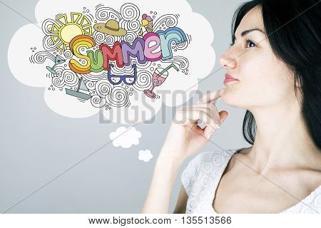 Woman dreaming about summer vacation concept with illustration design
