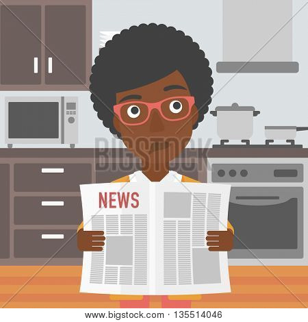 An african-american woman reading the newspaper on the background of kitchen vector flat design illustration. Square layout.