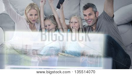 Composite image of family are watching running on television at home