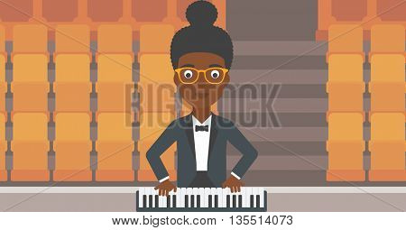An african-american woman playing piano on the background of empty theater seats vector flat design illustration. Horizontal layout.