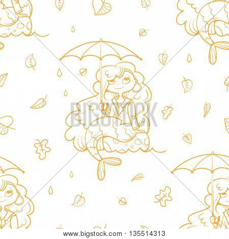Seamless pattern with cute cartoon mermaids under umbrellas on white background. Autumn season and  leaves fall. Children's illustration. Beautiful girls. Vector contour image.