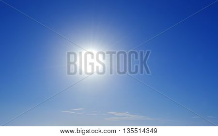 Beautiful bright solar sky panoramic view with copy space