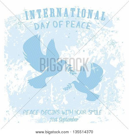 Doves with olive branch on a subtle grungy white floral artwork for International Peace Day