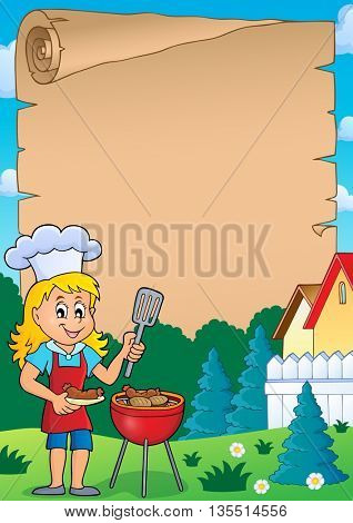 Barbeque theme parchment 2 - eps10 vector illustration.
