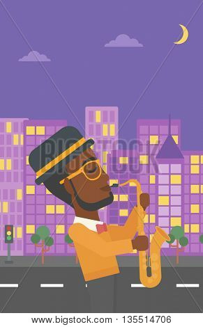 An african-american man playing saxophone on a night city background vector flat design illustration. Vertical layout.