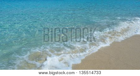 Clear Water and Sand beach background panoramic view