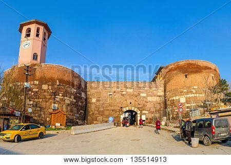 ANKARA TURKEY - JANUARY 16 2015: The Finger Gate leads to the Hisar Citadel through the restored neighborhood known as the Turkish village on January 16 in Ankara.