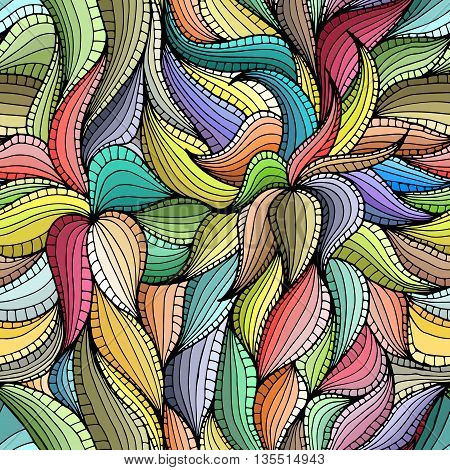 Abstract hand-drawn seamless pattern with colorful vegetation. Leaves. Can be used for desktop background or frame for a posterfor pattern fills surface textures web page backgrounds textile and more.