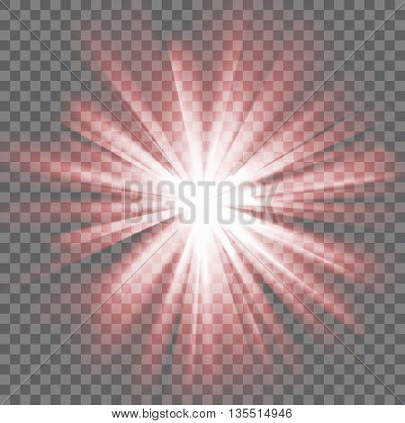 Red glowing light. Bright shining star. Bursting explosion. Transparent background. Rays of light. Glaring effect with transparency. Abstract glowing light background. Vector illustration.