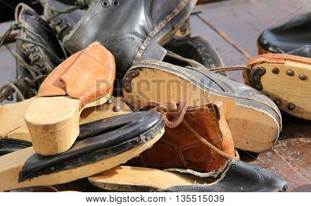 Many Leather Shoes Of A Street Cobbler