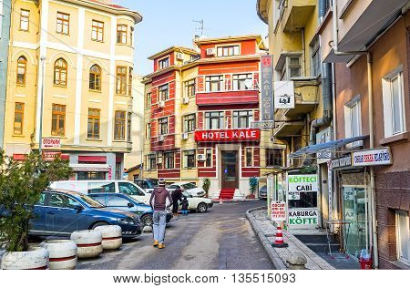 ANKARA TURKEY - JANUARY 16 2015: The tourist neighborhood with the cozy hotels and nice cafes located at the foot of the Castle Hill on January 16 in Ankara.