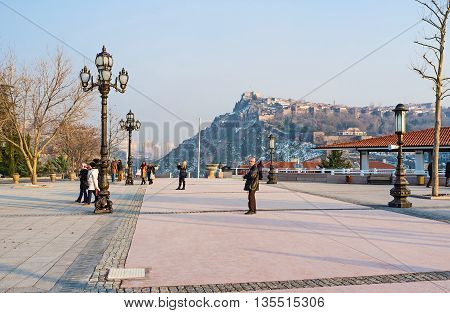 ANKARA TURKEY - JANUARY 16 2015: The view from the Haci Bayram Square on the Hisar Citadel located on the top of the hill on January 16 in Ankara.