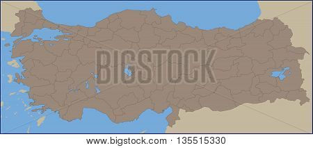Illustration of a Empty Political Map of Turkey