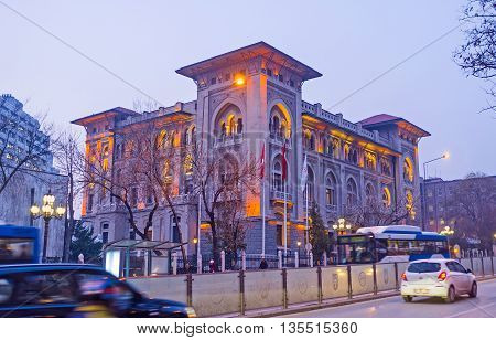 ANKARA TURKEY - JANUARY 16 2015: The headquarters of the Ziraat Bank in bright evening lights on January 16 in Ankara.