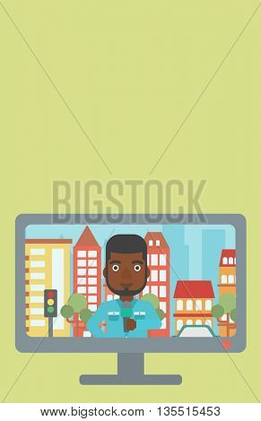 Television set broadcasting the news with an african-american reporter on a city background vector flat design illustration. Vertical layout.